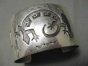 Wide Hand Wrought Vintage Native American Hopi Lizard Sterling Silver Bracelet Old