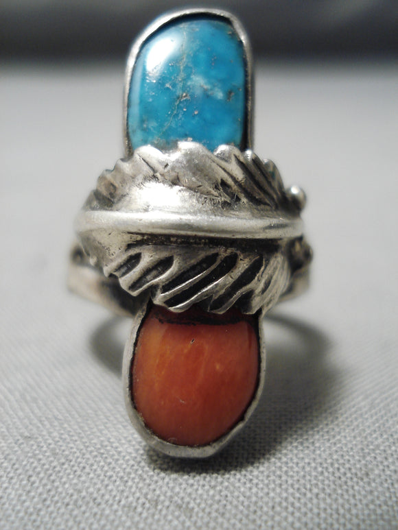 Marvelous Vintage Native American Navajo Deep Blue Turquoise Coral Sterling Silver Leaf Ring Old