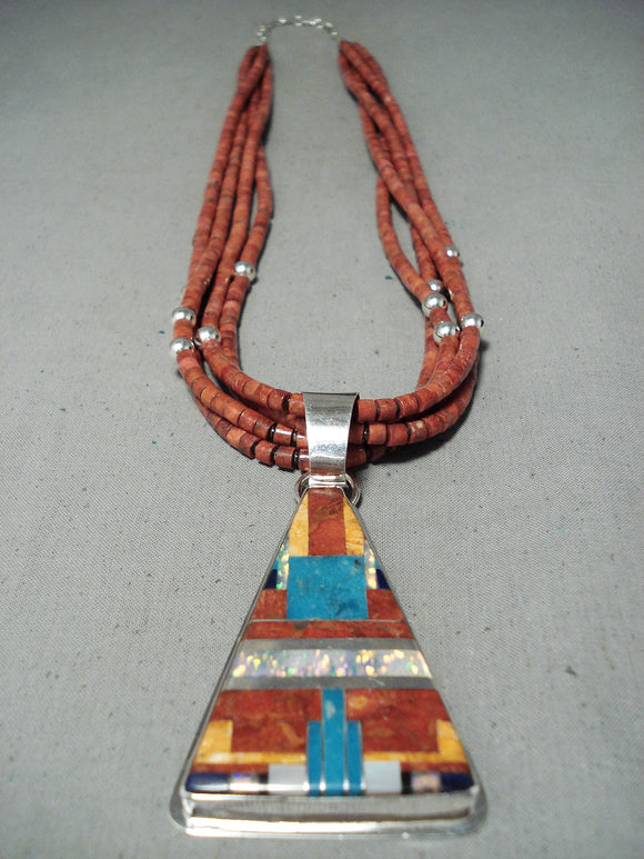 Native American Important Coriz Santo Domingo Shell Turquoise Sterling Silver Necklace