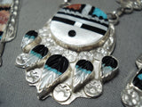 Expressive Vintage Native American Zuni Turquoise Sterling Silver Necklace And Earring Set Old