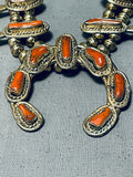 Rare Gold Sterling Silver Coral Vintage Native American Navajo Squash Blossom Necklace