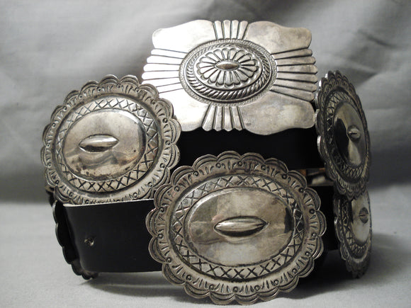 Authentic Vintage Native American Navajo Kirk Smith Sterling Silver Concho Belt Old