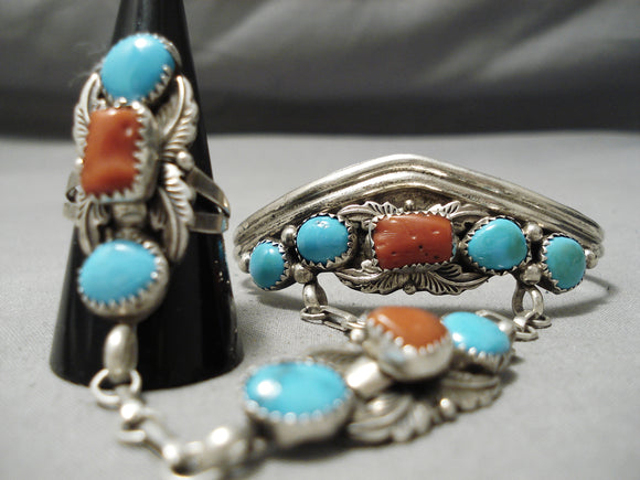 Native American Amazing Vintage Navajo Sky Blue Turquoise Coral Sterling Silver Bracelet Ring