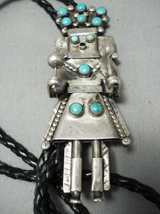One Of The Biggest Vintage Native American Navajo Turquoise Sterling Silver Kachina Bolo Tie Old