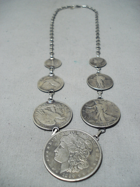 Noteworthy Navajo Old Coins Sterling Silver Necklace Native American