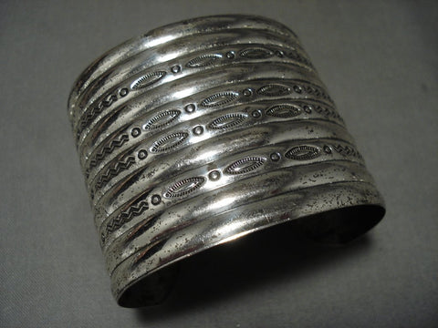 10 Story Tall Early Hand Hammered Vintage Navajo Native American Jewelry Silver Bracelet Old-Nativo Arts