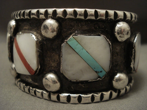 100 Gram Very 'Unique Oblique' Inlay Turquoise Native American Jewelry Silver Bracelet-Nativo Arts