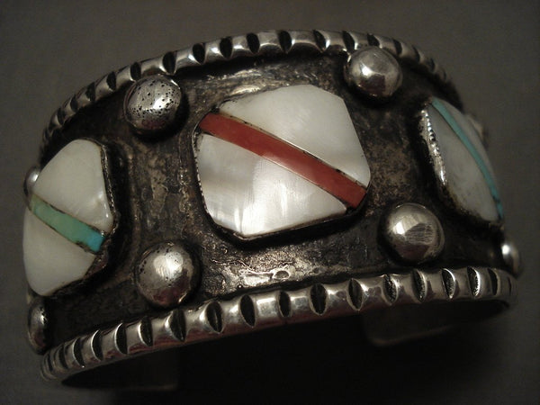 100 Gram Very 'Unique Oblique' Inlay Turquoise Native American Jewelry Silver Bracelet