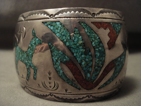 100 Gram Wide Hvy Vintage Navajo Turquoise Native American Jewelry Silver Bracelet Old-Nativo Arts