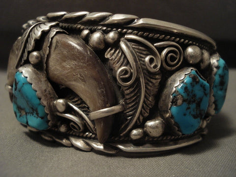 100 Grams Hvy Vintage Navajo Turquoise Native American Jewelry Silver Bracelet-Nativo Arts