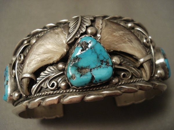 100 Grams Hvy Vintage Navajo Turquoise Native American Jewelry Silver Bracelet