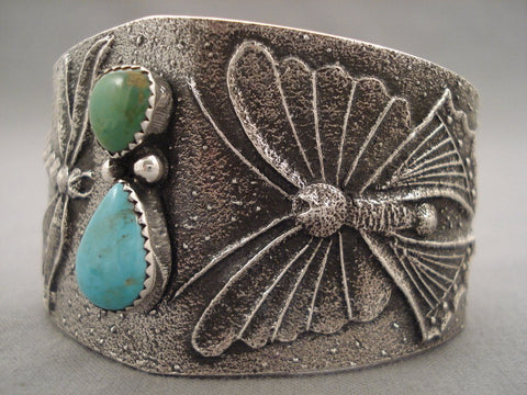 100 Grams Navajo Native American Jewelry jewelry Dragonfly Love Green And Blue Turquoise Bracelet-Nativo Arts
