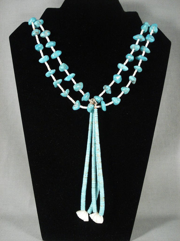 100 Grams Vintage Navajo Native American Jewelry jewelry Tsosie Turquoise Necklace-Nativo Arts