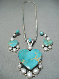 Stunning Vintage Native American Navajo Royston Turquoise Sterling Silver Necklace & Earring Set