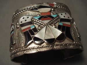 103 Gram Very Wide Vintage Zuni Turquoise Native American Jewelry Silver Bracelet-Nativo Arts