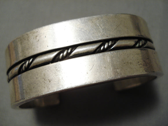 Thick Heavy Vintage Native American Navajo 100 Gram Sterling Silver Coiled Bracelet Old