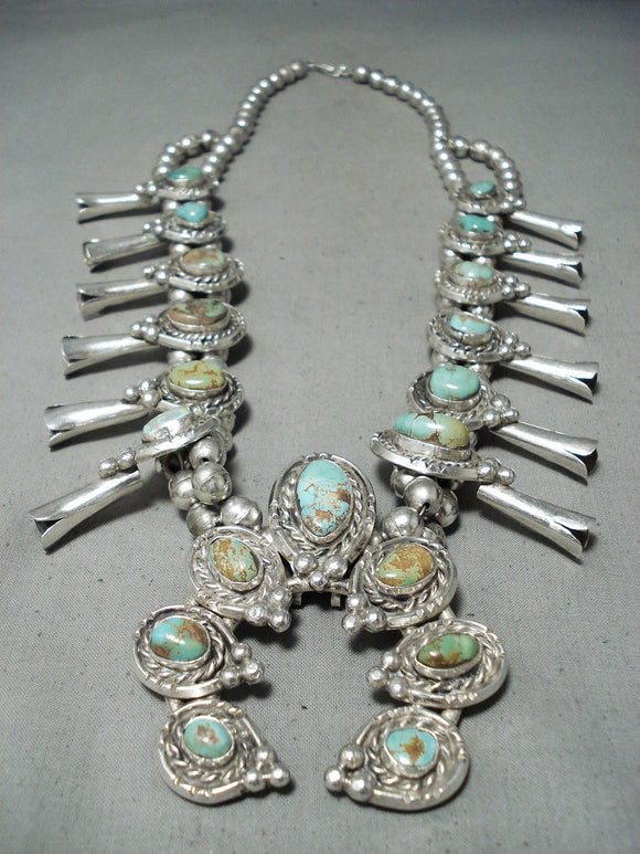 307 Grm Vintage Native American Navajo Royston Turquoise Sterling Silver Squash Blossom Necklace