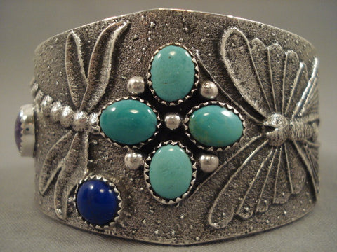 107 Grams Quality Navajo Dragonfly Native American Jewelry Silver Bracelet-Nativo Arts
