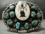 109 Grams Huge Old Zuni Apache Kachina Native American Jewelry Silver Turquoise Buckle Vintage Vtg-Nativo Arts