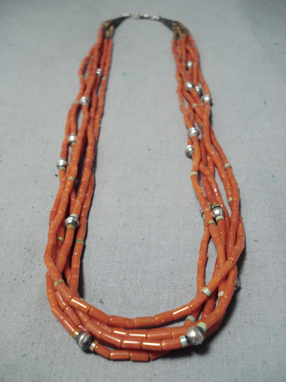 Native American One Of The Best Vintage Santo Domingo Coral Sterling Silver Necklace