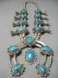 Huge Authentic Vintage Native American Navajo Turquoise Sterling Silver Squash Blossom Necklace