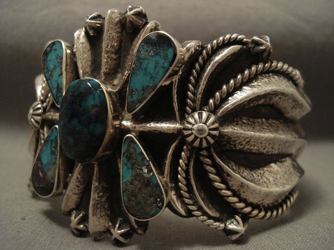 110 Grams Advanced Native American Jewelry Silver Work Navajo Turquoise Bracelet-Nativo Arts