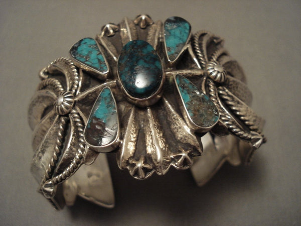110 Grams Advanced Native American Jewelry Silver Work Navajo Turquoise Bracelet