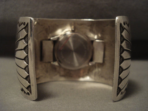 110 Grams Wide Vintage Navajo Native American Jewelry Silver Sun Watch Bracelet-Nativo Arts