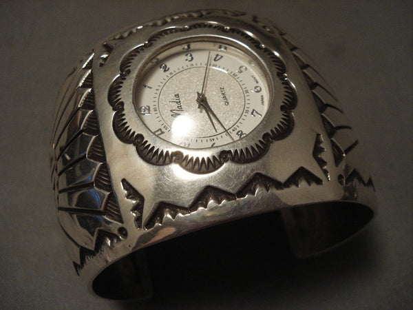 110 Grams Wide Vintage Navajo Native American Jewelry Silver Sun Watch Bracelet