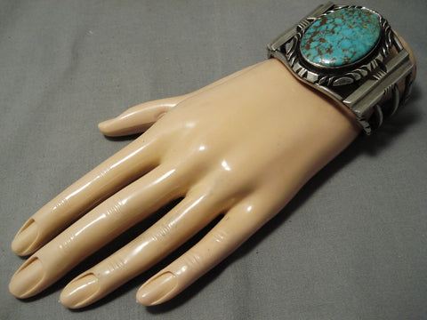 Rare Earlier Royston Turquoise Vintage Native American Navajo Sterling Silver Bracelet Old