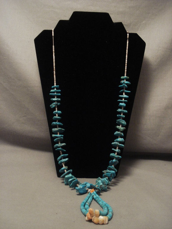 112 Gram Vintage Santo Domingo Turquoise Necklace Jacla Old Vtg-Nativo Arts