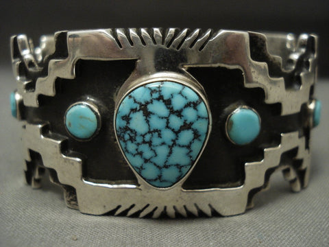 115 Grams Stunning Navajo Lone Mntn Turquoise Native American Jewelry Silver Geometric Bracelet-Nativo Arts