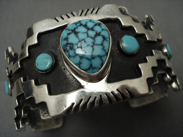 115 Grams Stunning Navajo Lone Mntn Turquoise Native American Jewelry Silver Geometric Bracelet