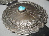Huge Vintage Native American Navajo Turquoise Sterling Silver Hand Wrought Concho Belt Old