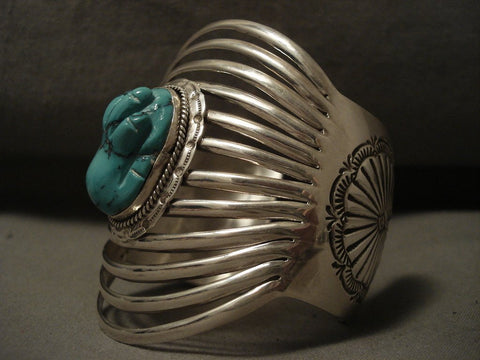 12 Shanks 'Turquoise Hand' Navajo Bulbous Turquoise Native American Jewelry Silver Bracelet-Nativo Arts