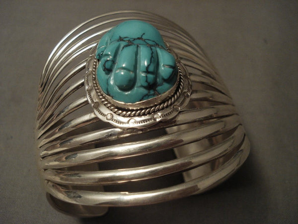 12 Shanks 'Turquoise Hand' Navajo Bulbous Turquoise Native American Jewelry Silver Bracelet