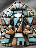 One Of Biggest Best Vintage Native American Navajo Turquoise Kachina Sterling Silver Bracelet