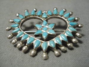 Marvelous Vintage Zuni Native American Sterling Silver Turquoise Heart Pin
