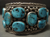 123 Gram Wide Naturtal Turquoise Vintage Navajo Native American Jewelry Silver Bracelet Old-Nativo Arts
