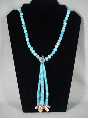 124 Gram Vintage Navajo Native American Jewelry jewelry Turquoise Necklace-Nativo Arts