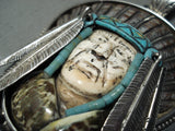 Native American One Of The Most Detailed Ever Chief Turquoise Sterling Silver Pendant