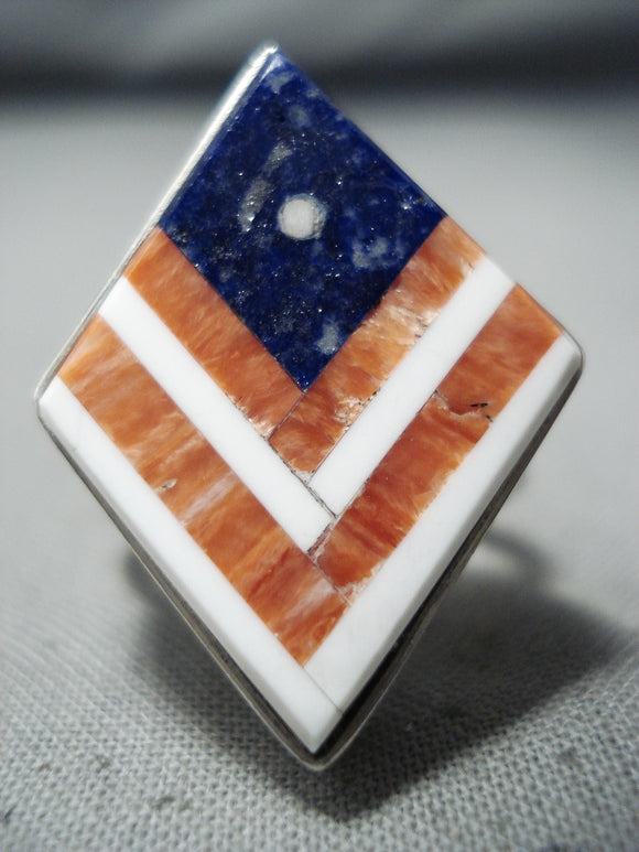 Exceptional Navajo Lapis Sterling Silver Flag Ring Native American