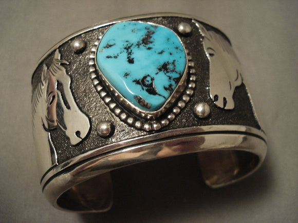 129 Grams Super Wide Vintage Navajo Native American Jewelry jewelry Thomas Singer Turquoise Bracelet-Nativo Arts