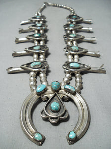 Carico Lake Turquoise Vintage Native American Navajo Sterling Silver Squash Blossom Necklace