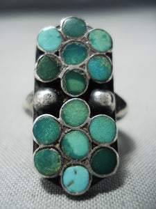 Early 1900's Vintage Native American Zuni Dishta Cerrillos Turquoise Sterling Silver Ring Old