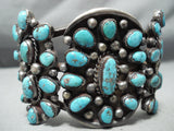 One Of The Best Vintage Native American Navajo Old Morenci Turquoise Sterling Silver Bracelet