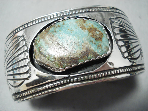 Detailed Wide Vintage Native American Navajo Royston Turquoise Sterling Silver Bracelet