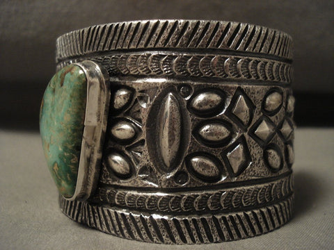 132 Gram Natural Green Turquoise Huge Navajo Native American Jewelry Silver Bracelet-Nativo Arts