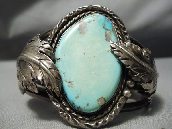 Heavy Thick Vintage Native American Navajo Light Green Turquoise Sterling Silver Leaf Bracelet