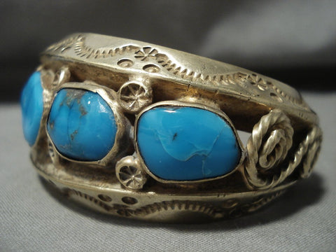 134 Gram Gold Solid Sterling Blue Carico Lake Turquoise Native American Jewelry Silver Bracelet-Nativo Arts